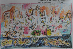 invitados a una cena haciendo abstracciones